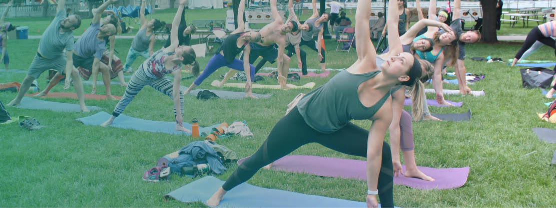 yoga in the park at Boulder Creek Festival